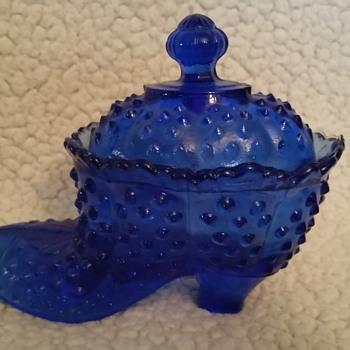 little Blue Glass Shoe - Glassware