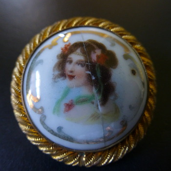 Antique porcelain brooch? - Costume Jewelry