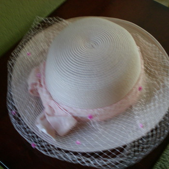 Pink women's hat with pink ribbon hat band and veil - Hats