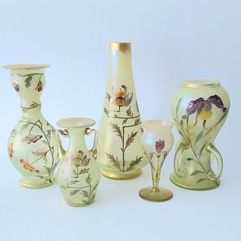 "Loetz: ""Arcadia"" decor with painting of flowers. - Art Glass"