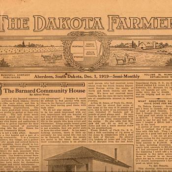 "1919 - ""The Dakota Farmer"" Newspaper"
