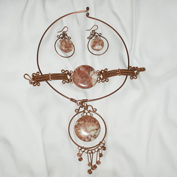 Unusual Handmade Copper Parure - Costume Jewelry