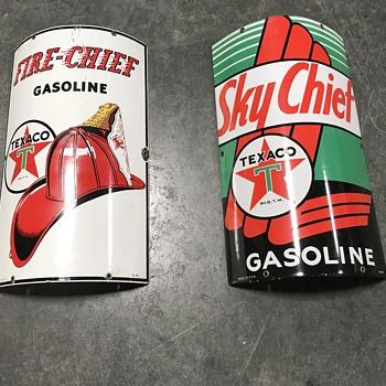 Texaco gas pump plates   Fire chief, Sky chief  - Petroliana