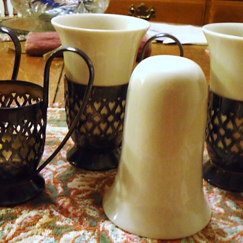 Gorham plated holders, and 4 ceramic coffee cups, who sold these or designed? - Glassware