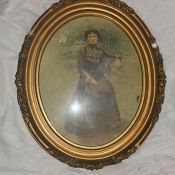 Antique frame with picture... - Fine Art