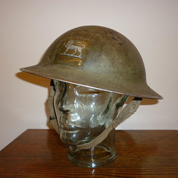 British WWII Herefordshire Regiment steel helmet