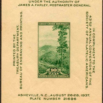"1937 - ""National Parks"" Souvenir Sheet (US)"