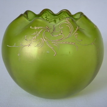 Art Nouveau Iridescent Enamelled Rose Bowl - Art Glass