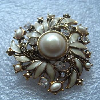 Beautiful MONET brooch Marcasite Enamel Rhinestones and Pearl  - Costume Jewelry