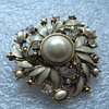 Beautiful MONET brooch Marcasite Enamel Rhinestones and Pearl