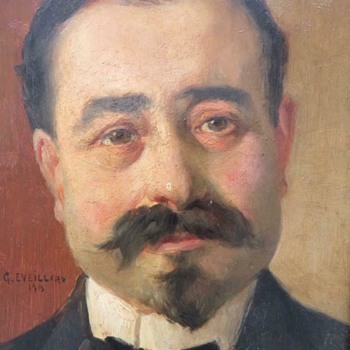 "Georges Eveillard ""Portrait Of A French Gentleman"" Oil On Panel 1913 Possible Self Portrait - Fine Art"