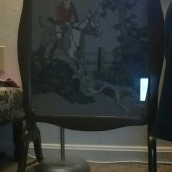 table has a neddle point picture inside i found it in the trash. - Furniture