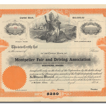 Fair and Driving Association Stock Certificate - Paper