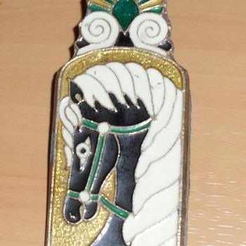 Brass enamel clip - Art Nouveau