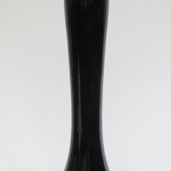 Roseville Black Bud Vase w/Old Black Roseville Sticker~Old?, Model #? - Pottery