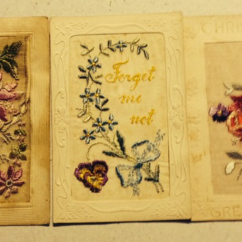 Early 1900's silk post cards