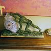 Art Deco Sisyphus clock, 1927-33 with Sabino Glass Encased Clock, and  Jon Du Roncourt Figure