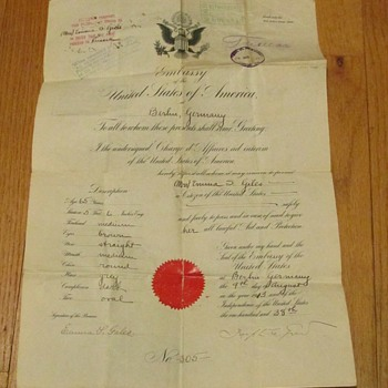 Ca. 1913 Emergency USA Passport Consular Issue Berlin signed by future US Ambassador to Japan before WW2 - Paper