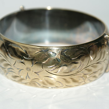Sterling and Gold Wash Canadian Burkhardt Hinged Bangle - Fine Jewelry