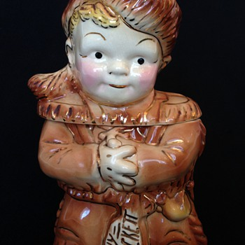 Old 1950's Young Davy Crockett Gold Trimmed Brush Cookie Jar - Kitchen