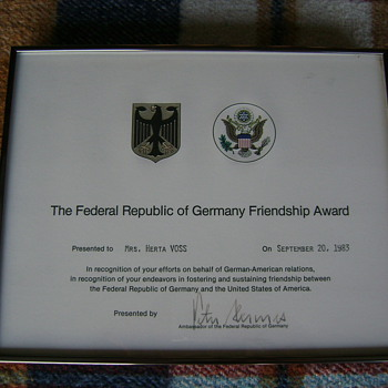 THE FEDERAL REPUBLIC OF GERMANY FRIENDSHIP AWARD