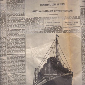 Original Titanic Newspaper article  - Paper