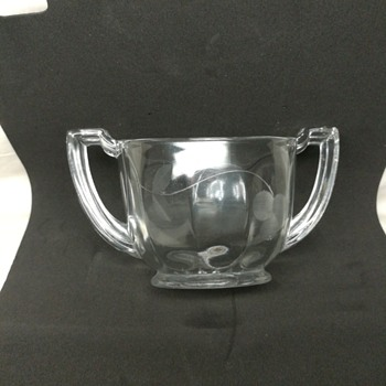 Etched glass sugar bowl