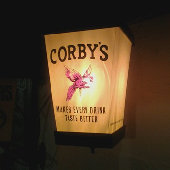 Corby's Whiskey Sign and Bottle