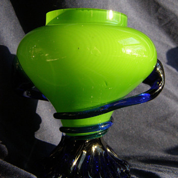 Green Tango vase with cobal blue - Made in Czecoslovakia - Art Glass
