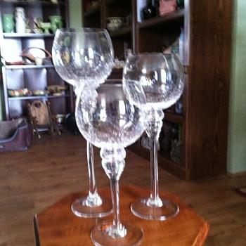 Crackled Candleholders - Glassware