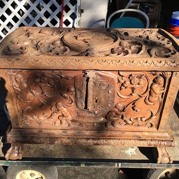 Antique early heavy wooden trunk iron hardware possibly from Austria. - Furniture