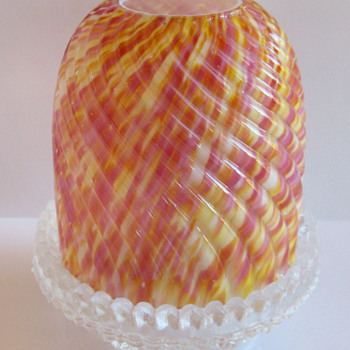 "Fairy Lamp - Clarke's ""Zebra"" design - Art Glass"