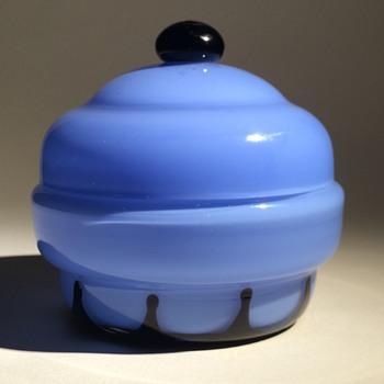 Loetz Blue Tango Lidded Dresser Jar (Hans Bolek design) - Art Glass