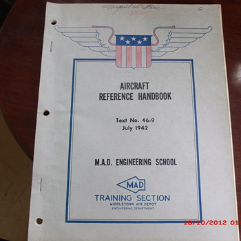 WWII Aircraft Reference Handbook from Middletown Air Depot Civilian Training Program