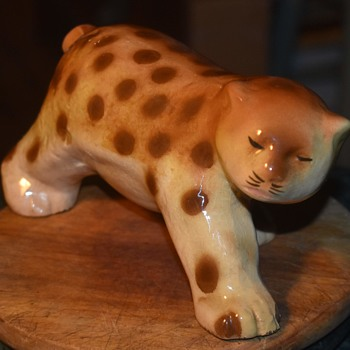 Very old ceramic Jaguar with a strange tail hole!  Bottle maybe? - Pottery