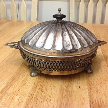 silver candy dish  - Art Deco