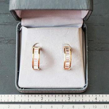 Roman Gold & Crystal Half Circle Earrings