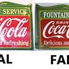 Fake coca cola porcelain sign
