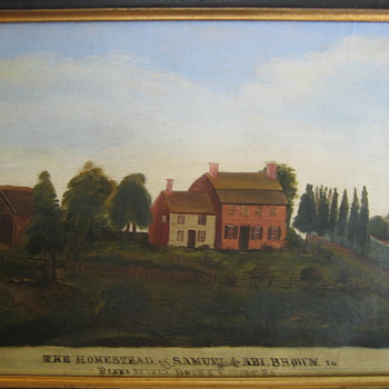 Primitive Brown Homestead Painting Ca. 1775 Bucks County PA