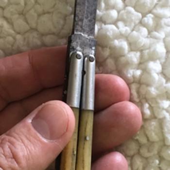 Vintage Folding Phillipines Butterfly Folding Blade Bone Knife - Sporting Goods
