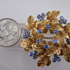18K Yellow and White Gold with Natural Sapphires Brooch