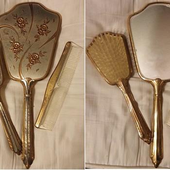 Vintage Vanity Sets, (mirror, brush comb set)