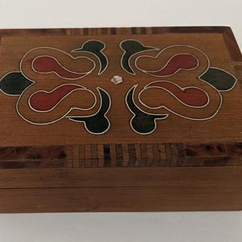 Artisan Crafted Cedar Trinket Box w/Inlay, Abalone - Ethnicity? - Folk Art