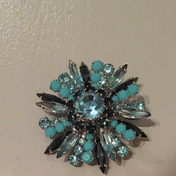 Blue Sherman Brooch  - Costume Jewelry