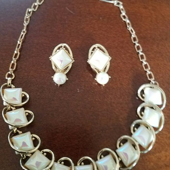 Vintage Emmons Pearly Glass Choker Necklace & Clip Earrings Set  - Costume Jewelry