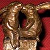 Vintage Bronze Kissing Rabbits