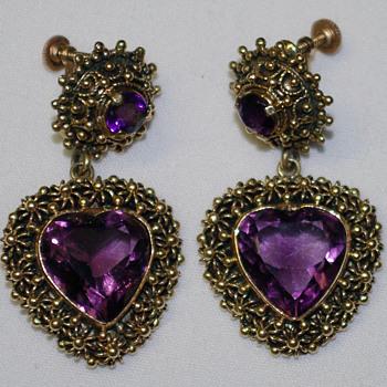 Amethyst 14K gold earrings - Fine Jewelry