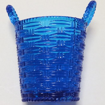 Pressed Glass Basket shaped Spill Vase - Sowerby?