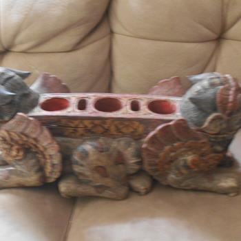 antique foo dog (Shishi) incense holder  - Asian