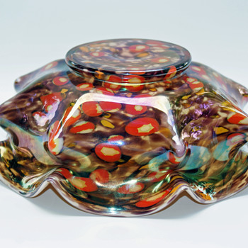 Kralik Millefiori Iridized Knuckle Bowl vase - Art Glass